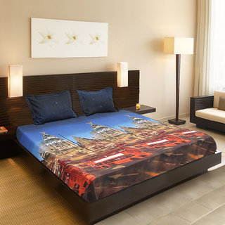 Valtellina India beautiful Temple design 1 Double bedsheet  2 pillow covers