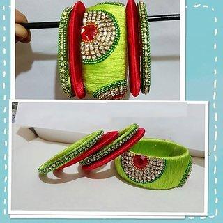 Handi Crafts sea blue silk thread bangles 2.6