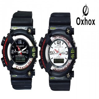 Oxhox Black Watches - Combo of 2