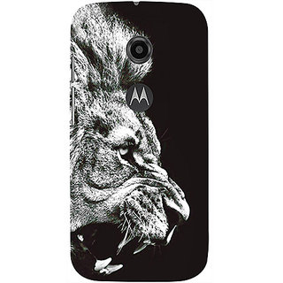 Casotec Angry Lion Design 3D Printed Hard Back Case Cover for Motorola Moto E 2nd Generation