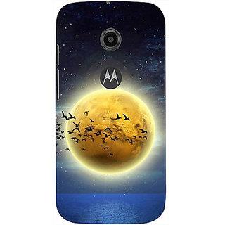 Casotec Moon View Design 3D Printed Hard Back Case Cover for Motorola Moto E 2nd Generation