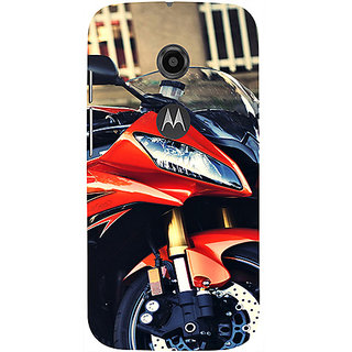 Casotec Red Motorcycle Design 3D Printed Hard Back Case Cover for Motorola Moto E 2nd Generation