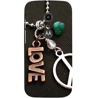 Casotec Love and Peace Design 3D Printed Hard Back Case Cover for Motorola Moto E 2nd Generation