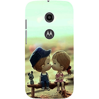 Casotec Love Couples Pattern Design 3D Printed Hard Back Case Cover for Motorola Moto E 2nd Generation