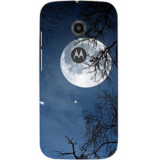 Casotec Night Moon Design 3D Printed Hard Back Case Cover for Motorola Moto E 2nd Generation