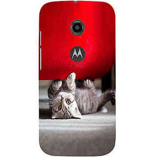 Casotec Cute Cat Design 3D Printed Hard Back Case Cover for Motorola Moto E 2nd Generation
