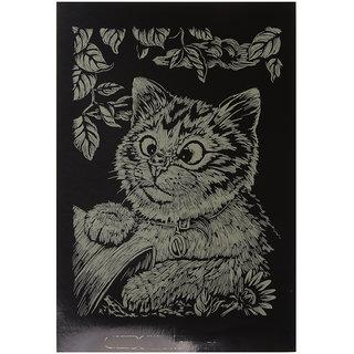 Magideal Foil Engraving Art Boards Scraper Picture Board Kids Diy Crafts Gold Cat