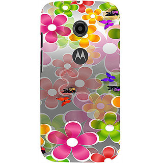 Casotec Butterflies Design 3D Printed Hard Back Case Cover for Motorola Moto E 2nd Generation