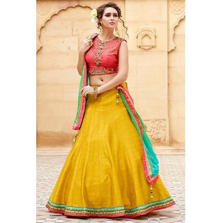 Festival Special Designer Banglori Silk Peach And Yellow Embroidered Lehegha Choli