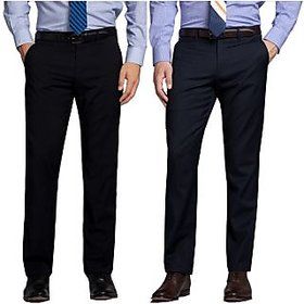 Black  Blue Regular Fit Formal Trouser For Men (Pack Of 2)