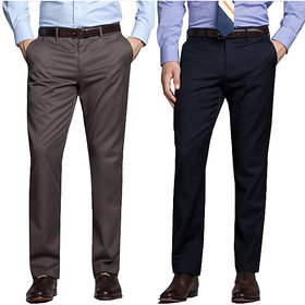 Men's Multicolor Regular Fit Formal Trousers