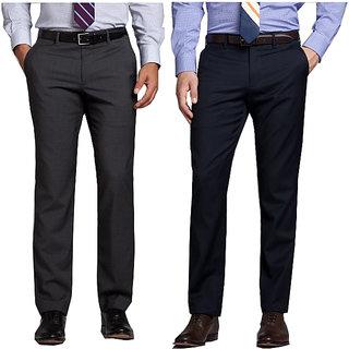 Grey  Blue Regular Fit Formal Trouser For Men (Pack Of 2)