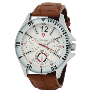 Svviss Bells Men's White & Brown Round Dial Analog Genuine Leather Strap Wrist Watch