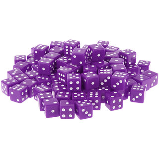 Magideal  100 x Opaque 16mm Six Sided Spot Dice RPG Games Purple
