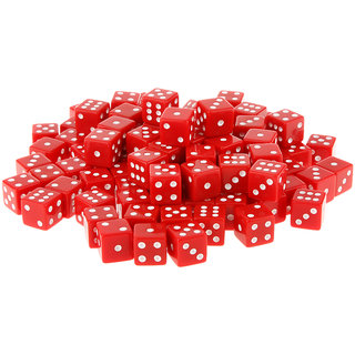 Magideal  100 x Opaque 16mm Six Sided Spot Dice RPG Games Red