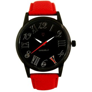 Svviss Bells Men's Black & Red Round Dial Analog Genuine Leather Strap Wrist Watch