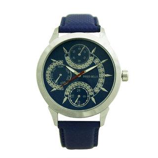 Svviss Bells Men's Blue Round Dial Analog Genuine Leather Strap Wrist Watch