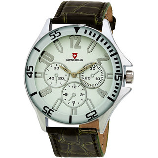 Svviss Bells Men's White  Green Round Dial Analog Genuine Leather Strap Wrist Watch