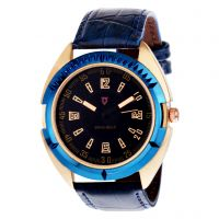 Svviss Bells Men's Black  Blue Round Dial Analog Genuine Leather Strap Wrist Watch
