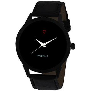 Svviss Bells Men's Black Round Dial Analog Genuine Leather Strap Wrist Watch
