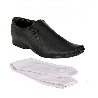 Groofer Men's Black Formal Slip on Shoes