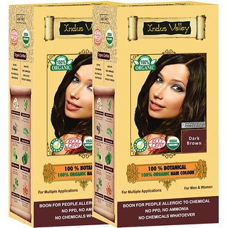 Indus Valley 100 Organic Botanical Dark Brown Hair Color - Twin Pack