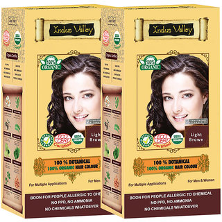 Indus Valley 100 Organic Botanical Light Brown Hair Color - Pack of 2