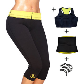 Gold Dust Body Slim Sweat Shapewear Pant + Top + Belt + Bumpits Combo (S)