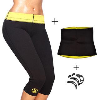 Gold Dust Body Slim Sweat Shapewear Pant + Belt + Bumpits Combo (L)