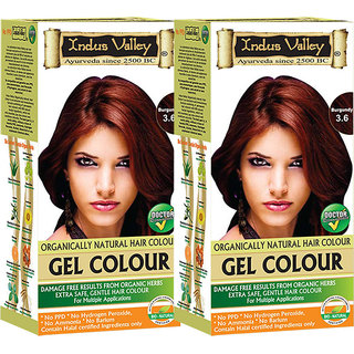 Indus Valley Organically Natural Gel Burgundy 3.6 Hair Color- Twin Pack