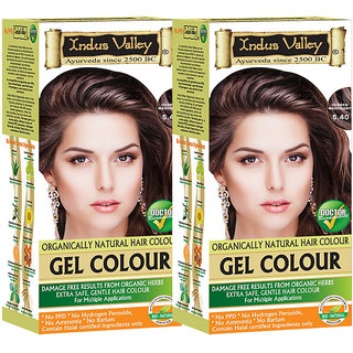 Indus Valley Natural Gel Copper Mahogany 5.40 Hair Color Pack of 2 Each Pack ( 200 Ml + 20 G )