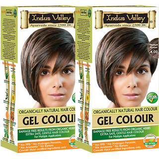 Indus Valley Organically Natural Gel Medium Brown 4.00 Hair Color- Twin Pack