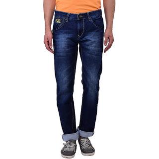 Blue Buddha Men\'s Narrow fit Whiskered Dark Blue Jeans