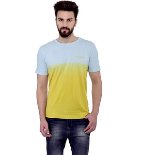 Blue Budhha Men\'s Round neck Mustard Dip Dye T-shirt