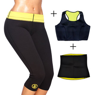 Gold Dust Body Slim Sweat Shapewear Pant + Top + Belt Combo (S)