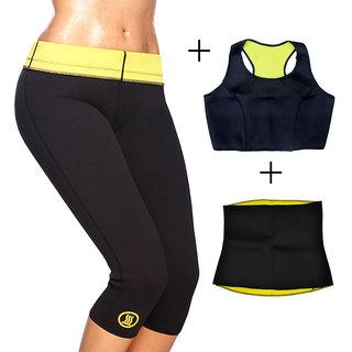 Gold Dust Body Slim Sweat Shapewear Pant + Top + Belt Combo (M)