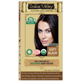 Indus Valley 100 Organic Botanical Soft Black Herbal Hair Color - One Touch Pack