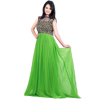 Paridhan Couture Green Georgette Partywear Gown