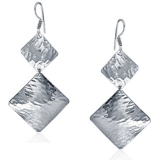 Spargz Hammer Finish Square Rhodium Plating Silver Earrings For Women AIER 662
