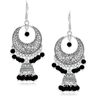 Spargz Classic Maroon Bead Oxidized Jhumki Earring For Women AIER 663