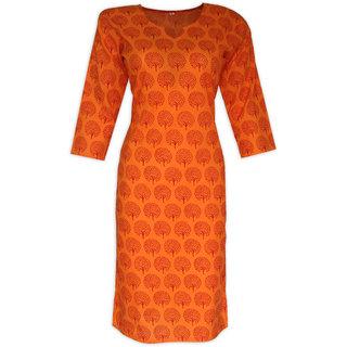 Asha Cotton Fabs Orange Hand Block Printed Kurti