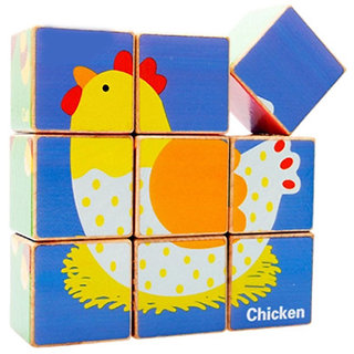 Magideal Wooden Cube Poultry Puzzle Colourful Building Blocks Jigsaw Motor Skills Toy