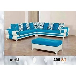 Dane Sectional Solid Wood L Shaped Sofa (Blue)