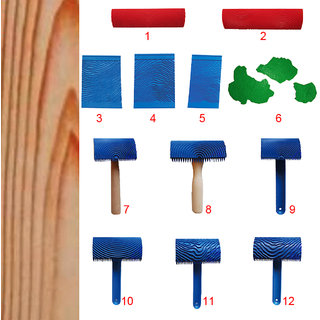 Magideal Wood Graining Rubber Painting Tool Texture Pattern Diy Wall Decor Blue#01