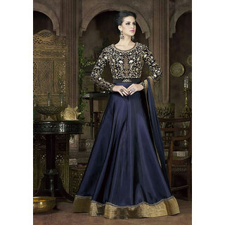 Thankar Blue  Black Embroidered Tapeta Silk Anarkali Suit