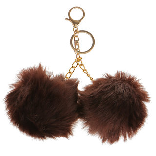 Magideal Faux Double Furry Ball Pendant Keyring Key Chain Keyfob Brown
