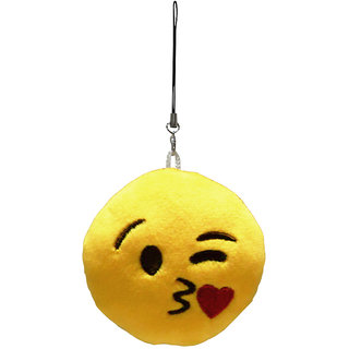 Magideal Round Stuffed Plush Emoji Charm Key Chain Strap Throwing Kiss