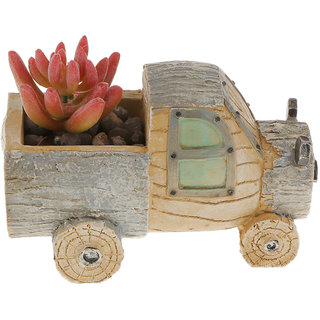 Magideal Resin Truck Container Planter Bed Succulent Pot Herb Flower Trough Box-Gray