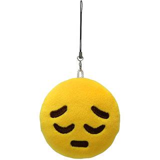 Magideal Round Stuffed Plush Emoji Charm Key Chain Strap Frustrating