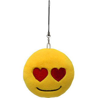 Magideal Round Stuffed Plush Emoji Charm Key Chain Strap Heart Eye #2